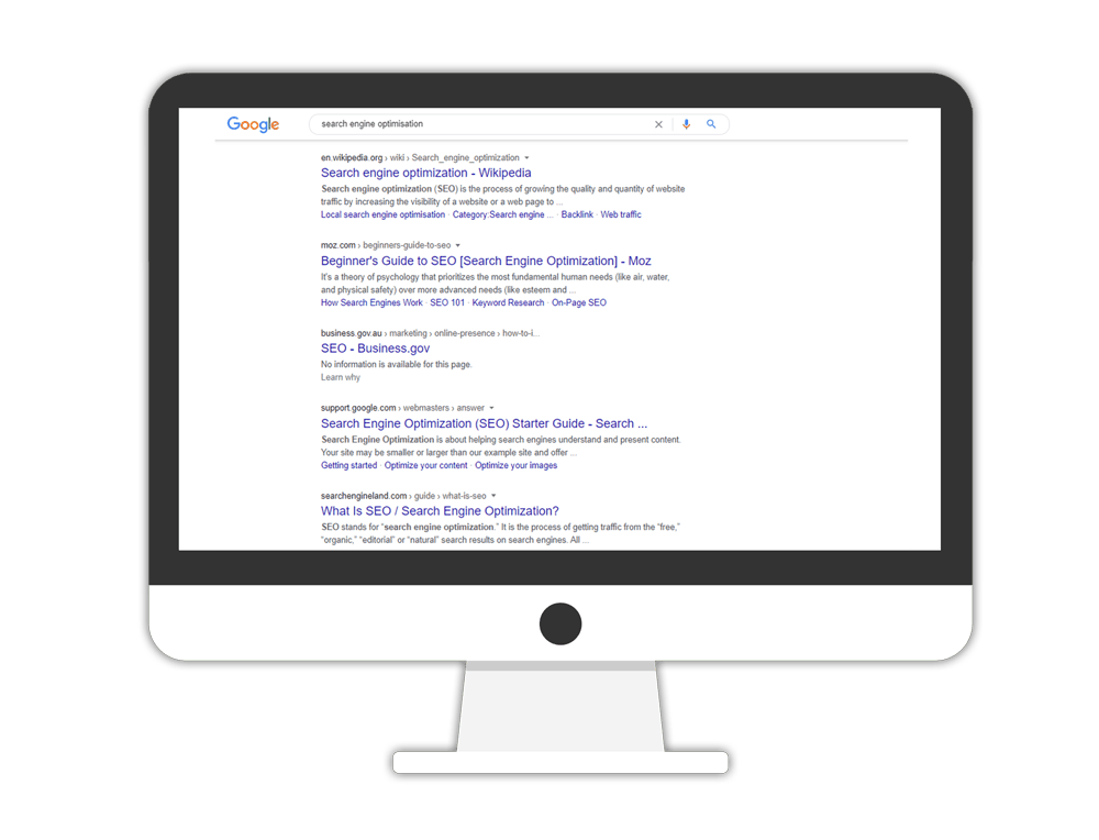 search engine optimisation australia - Google search engine results on a monitor